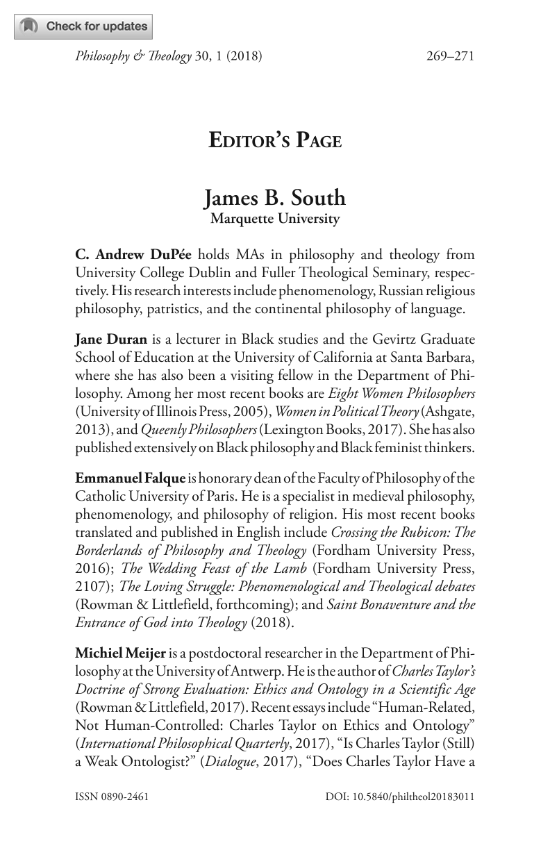 Editor's Page - James South - Philosophy and Theology