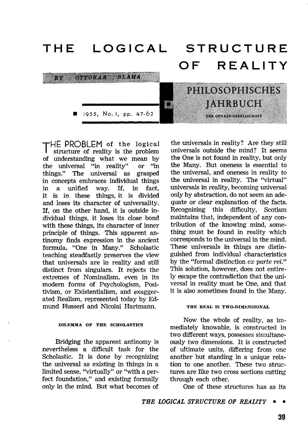 The Logical Structure of Reality - Ottokar Blaha