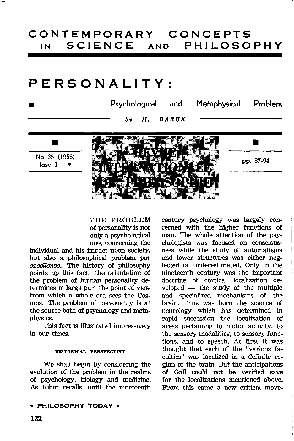 Personality: a psychological and metaphysical problem - H