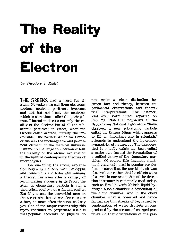 The Reality of the Electron - Theodore J  Kisiel