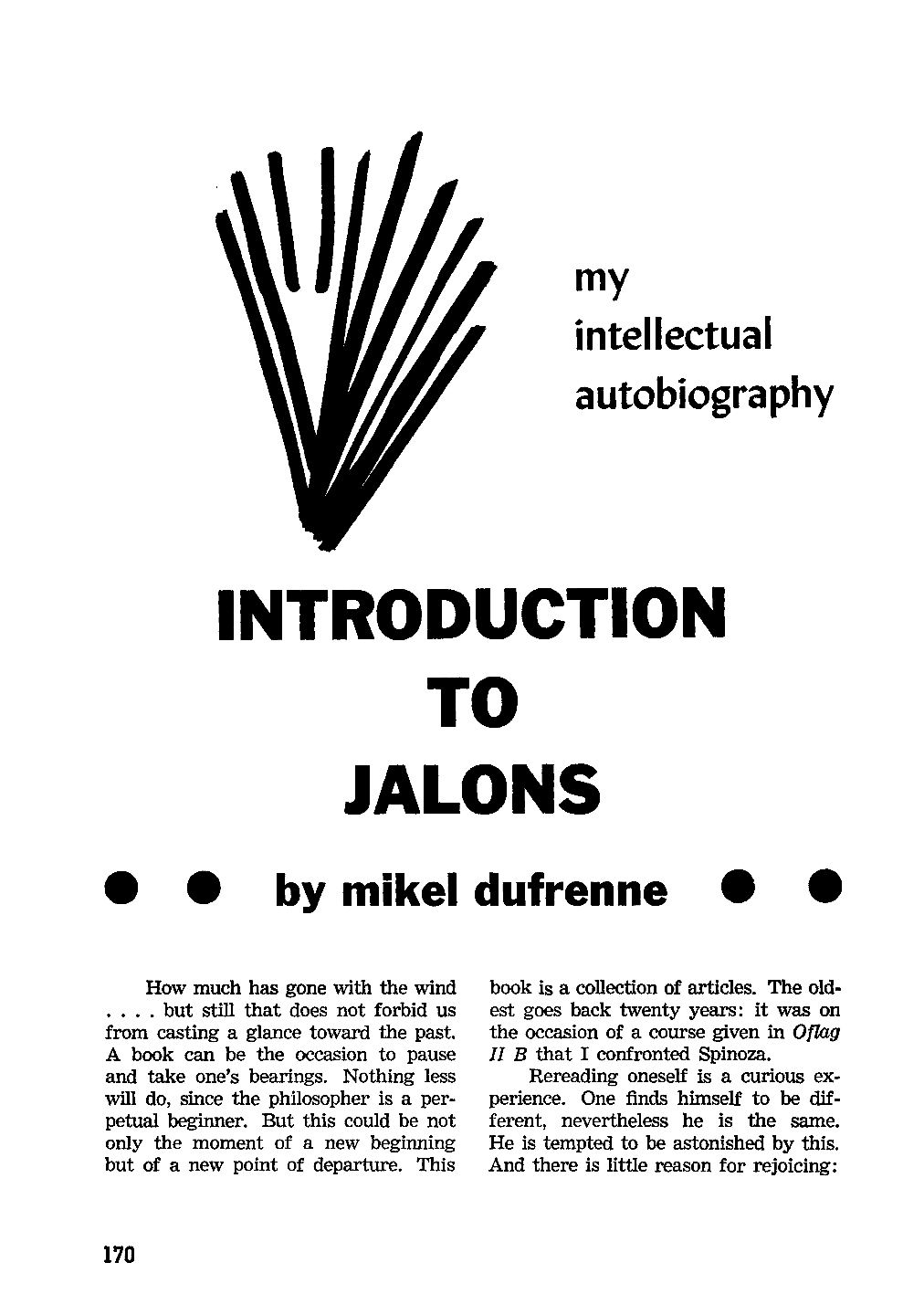 Introduction to Jalons — my intellectual Autobiography - Mikel