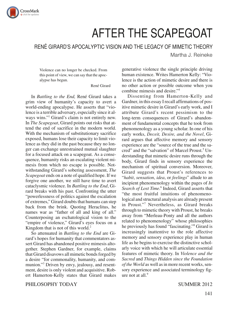 After the Scapegoat: René Girard's Apocalyptic Vision and the Legacy