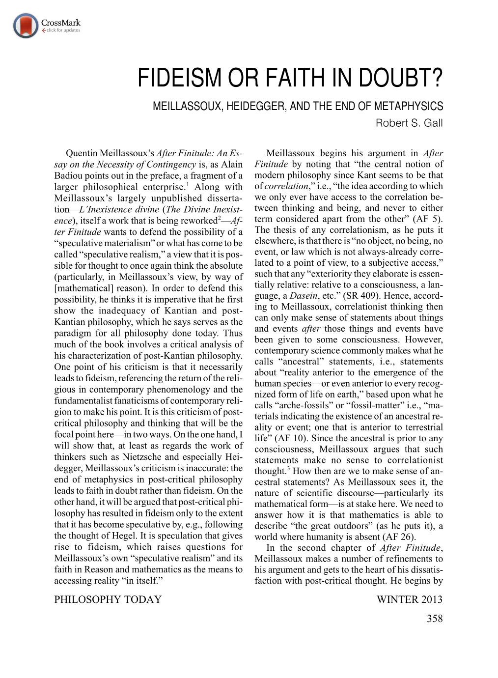 Fideism Or Faith In Doubt Meillassoux Heidegger And The End Of
