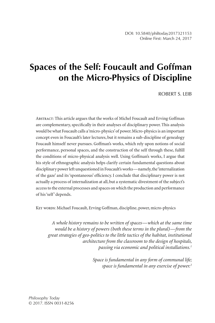 goffman and foucault social order made and remade Home dd101 question: tma 04 - compare and contrast goffman's and foucault's explanations of how social order is made and remade answer: this essay is to compare and contrast the two views of how social order is made and re-made.