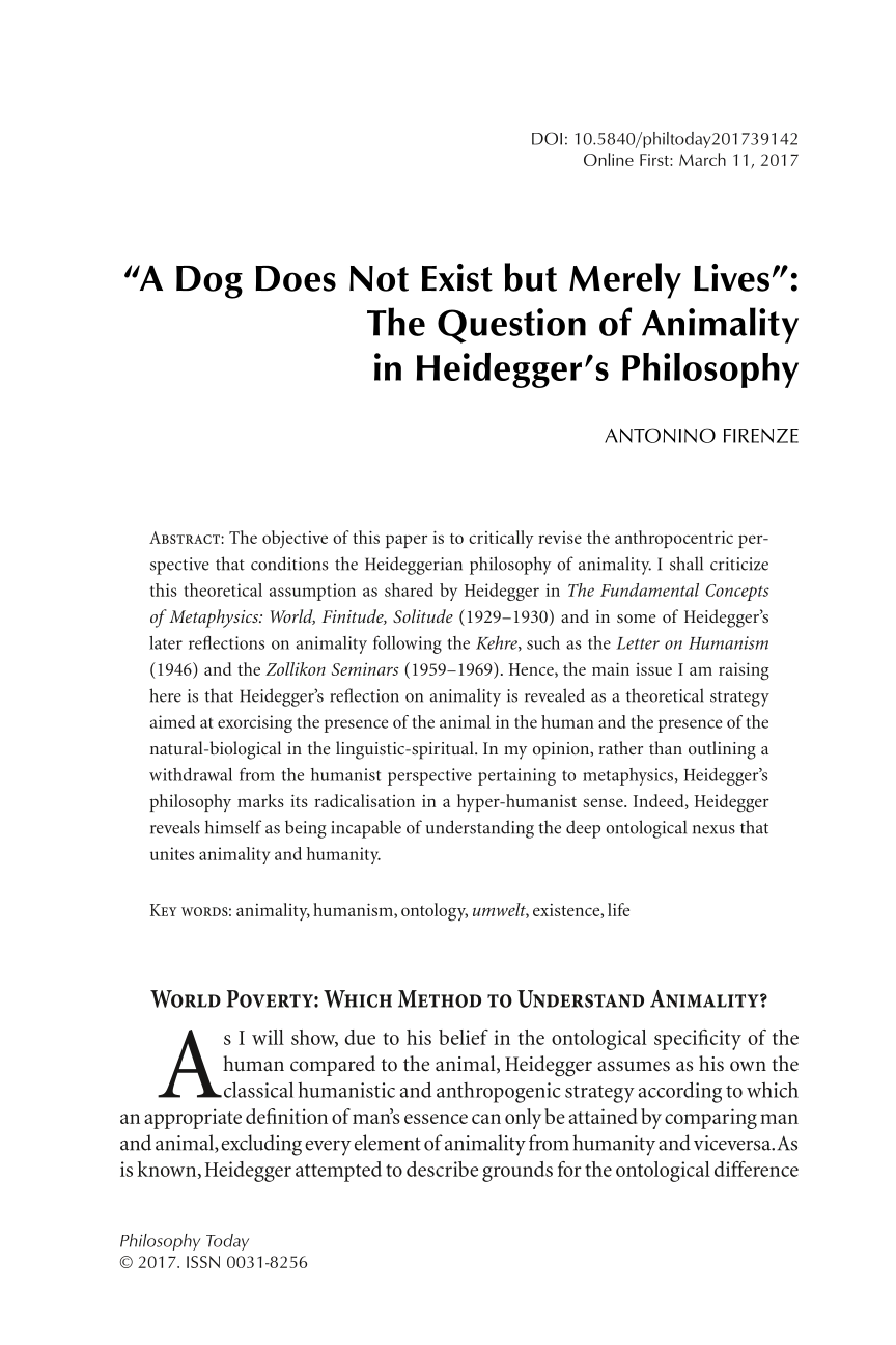 """A Dog Does Not Exist but Merely Lives"""": The Question of"""
