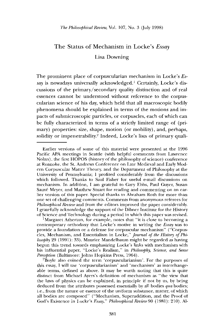 LOCKE ON PERSONAL IDENTITY Part of Text source Essay SlidePlayer LOCKE ON SUBSTANCE Part of Text source Essay Concerning Human     Paper