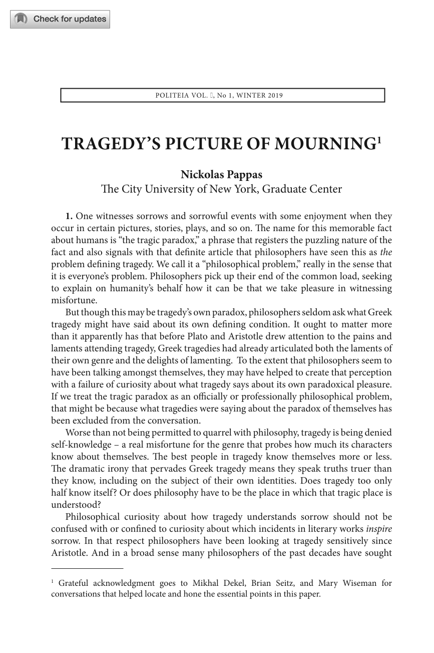 Tragedy's Picture of Mourning - Nickolas Pappas - Politeia