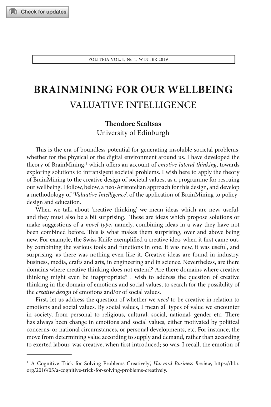 BrainMining for our Wellbeing: Valuative Intelligence