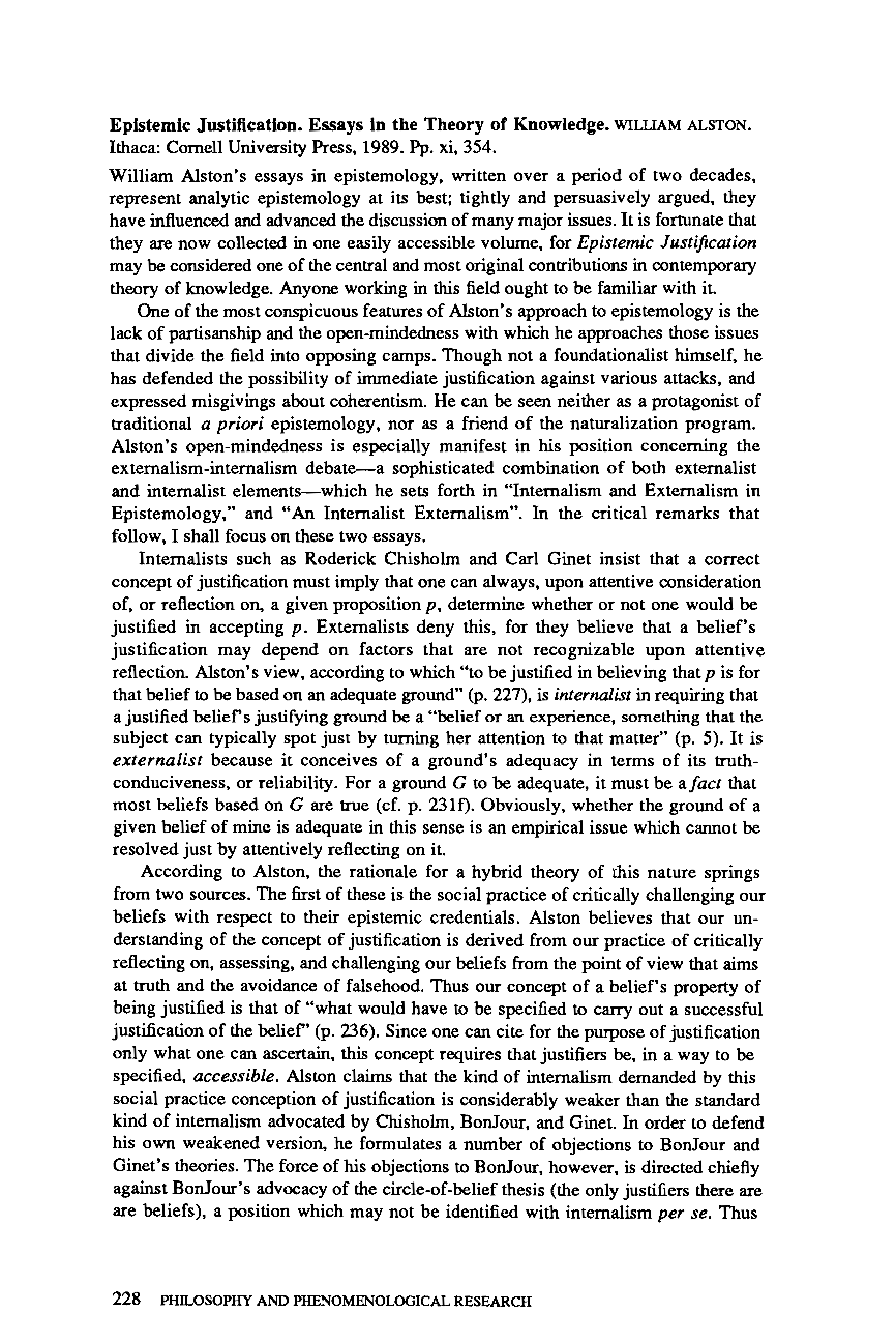 notions of epistemic internalism and externalism philosophy essay Two notions of the internal and goldman's epistemic externalism and partly internalist in this paper i externalism controversy in the philosophy of.