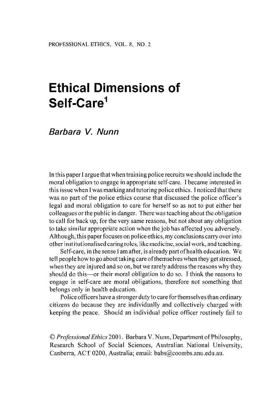 Ethical Dimensions of Self-Care - Barbara V  Nunn