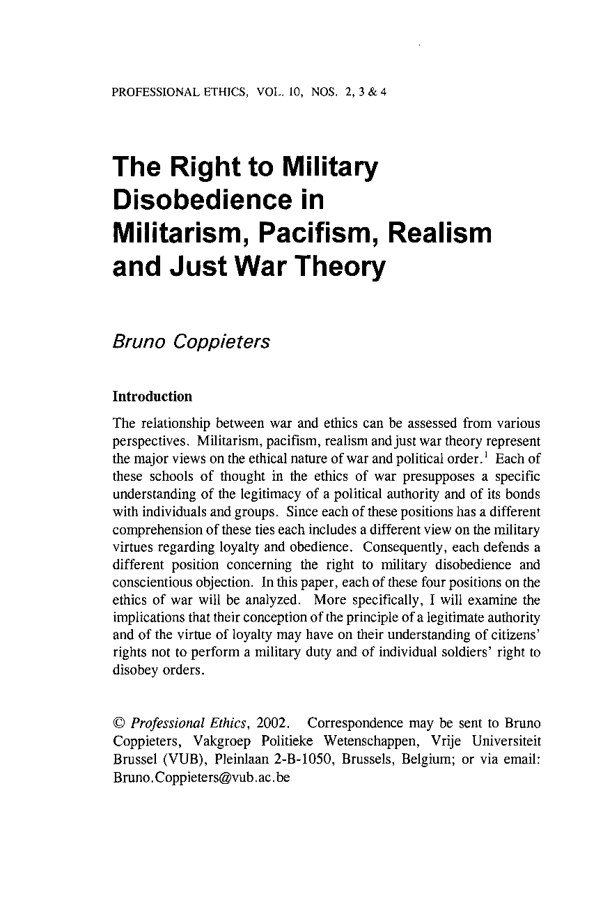 The just war theory essay