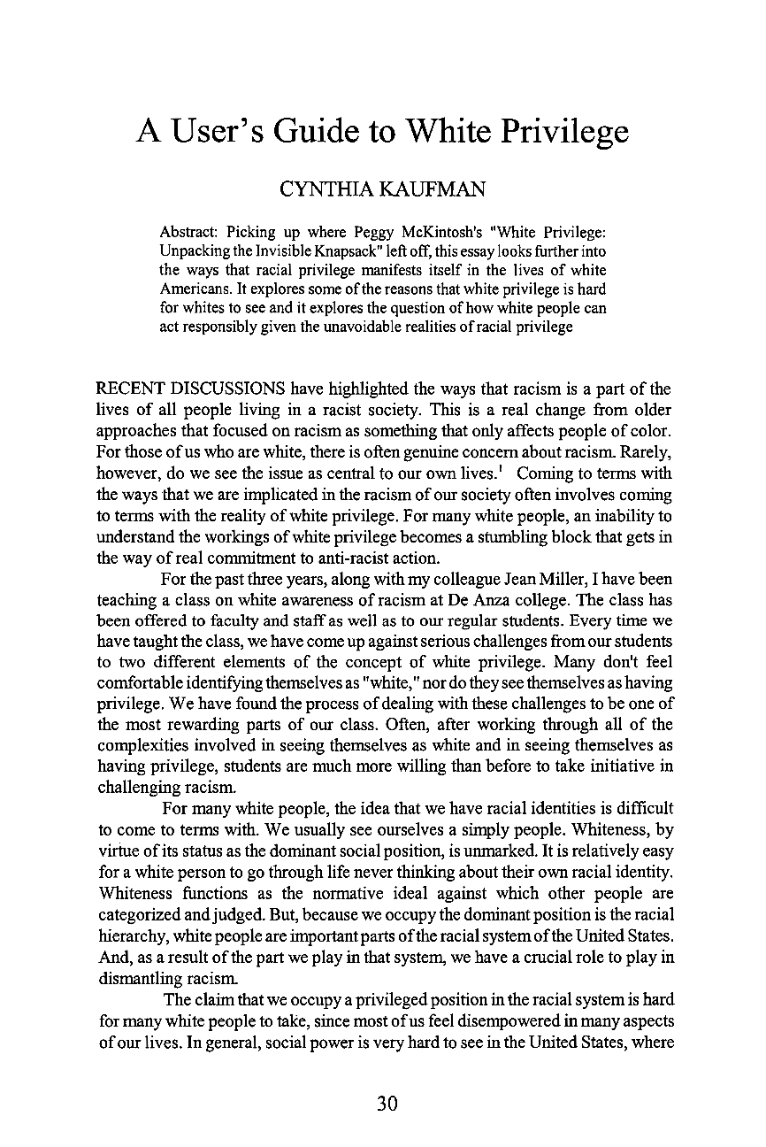 essay on white privilege