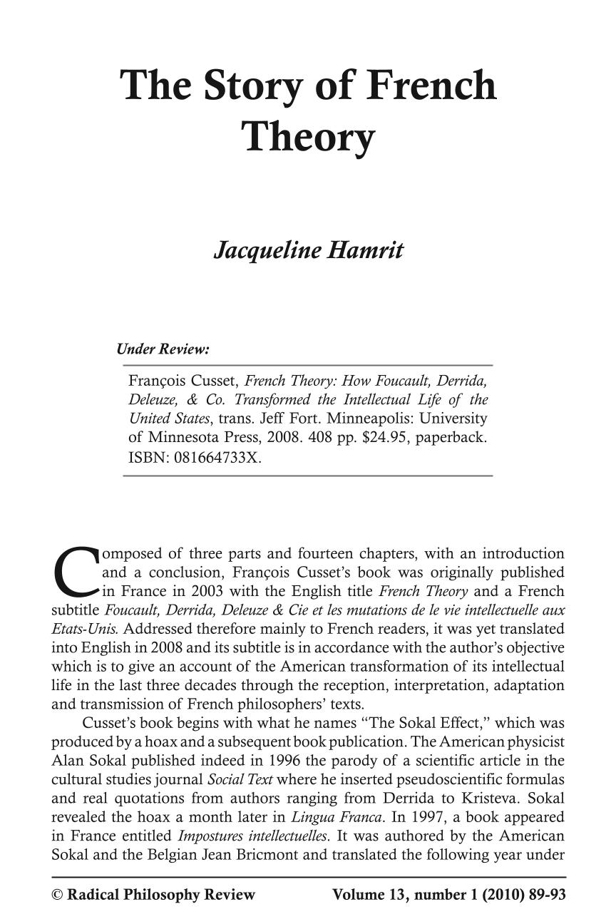 The Story of French Theory - Jacqueline Hamrit - Radical