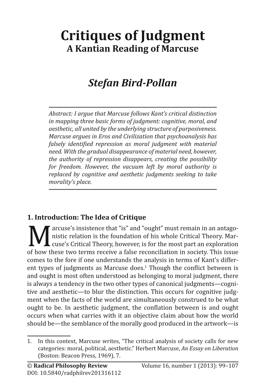 critiques of judgment a kantian reading of marcuse stefan bird document is being loaded