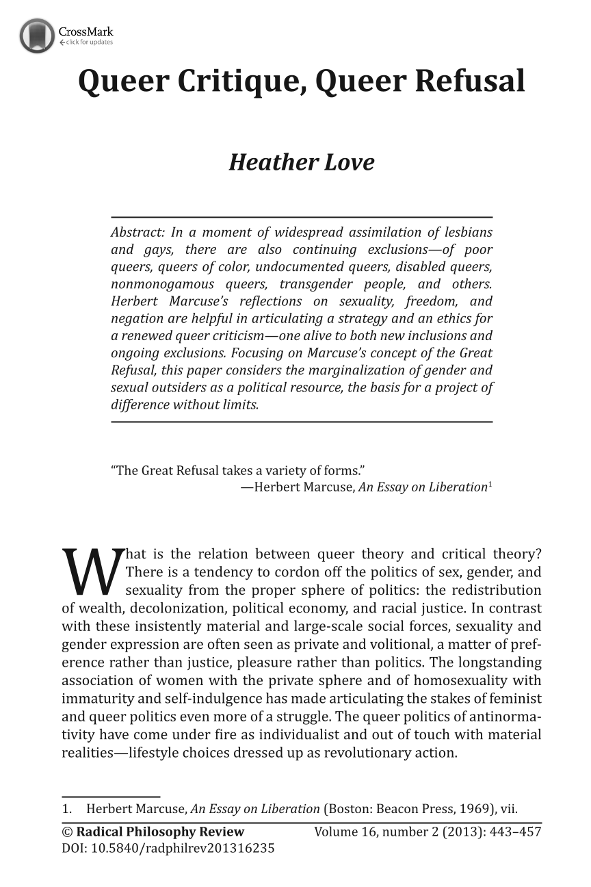 queer critique queer refusal heather love radical philosophy document is being loaded