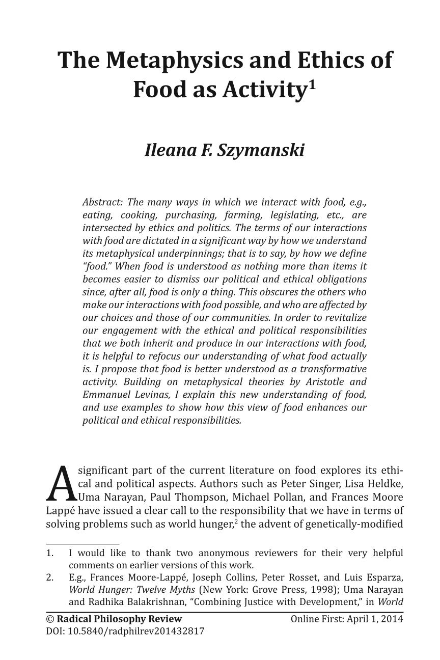 The Metaphysics And Ethics Of Food As Activity Ileana F Szymanski