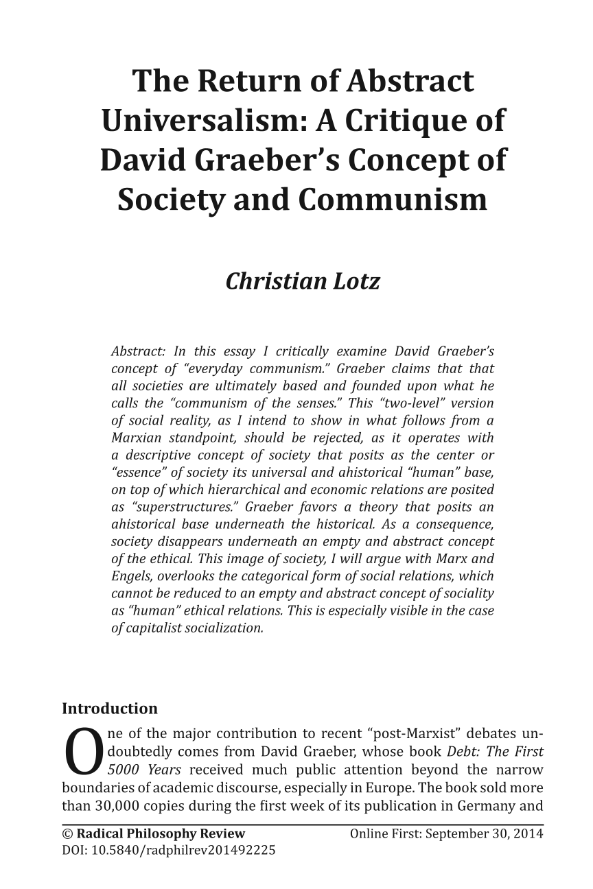 The Return of Abstract Universalism: A Critique of David