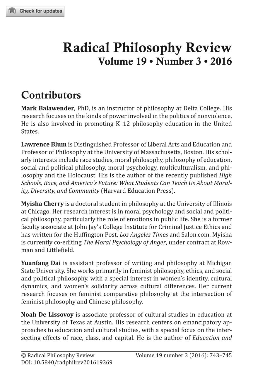 Contributors - - Radical Philosophy Review (Philosophy