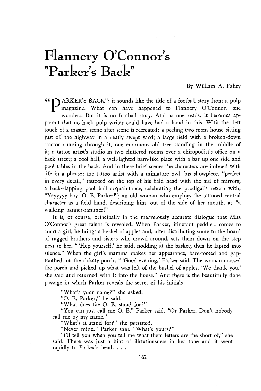 flannery o connor s parker s back william a fahey document is being loaded