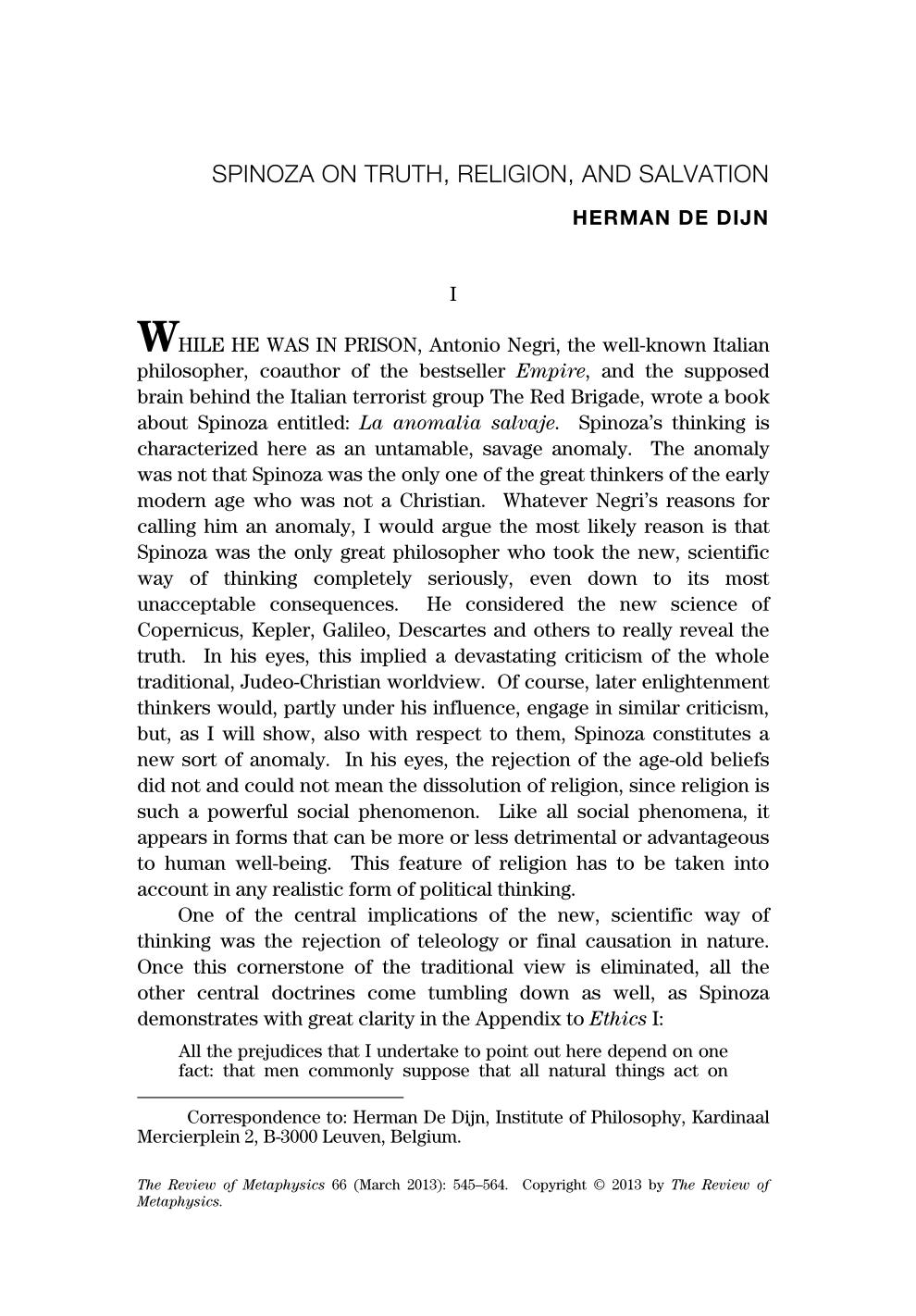 Spinoza On Truth Religion And Salvation Herman De Dijn
