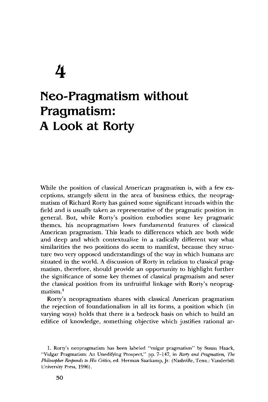 4  Neo-Pragmatism Without Pragmatism: A Look at Rorty