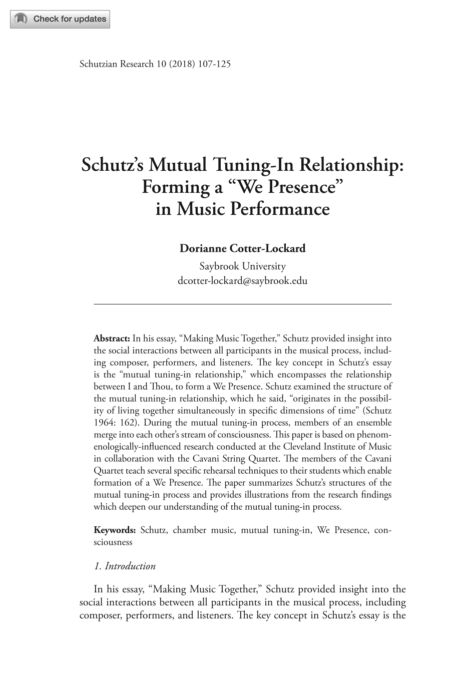 """Schutz's Mutual Tuning-in Relationship: Forming a """"We-Presence"""" in"""
