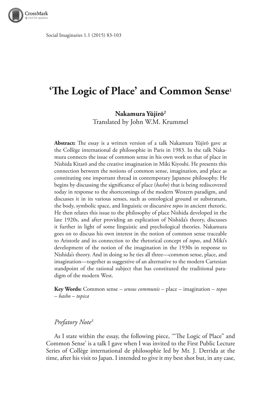 the logic of place and common sense nakamura yujiro john w m  document is being loaded