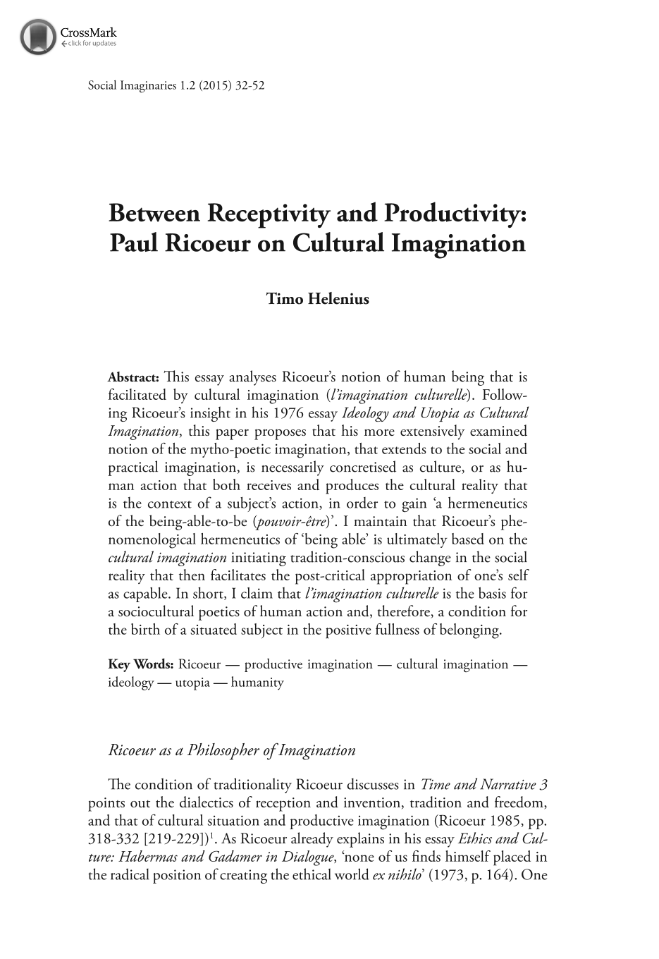 between receptivity and productivity paul ricoeur on cultural document is being loaded