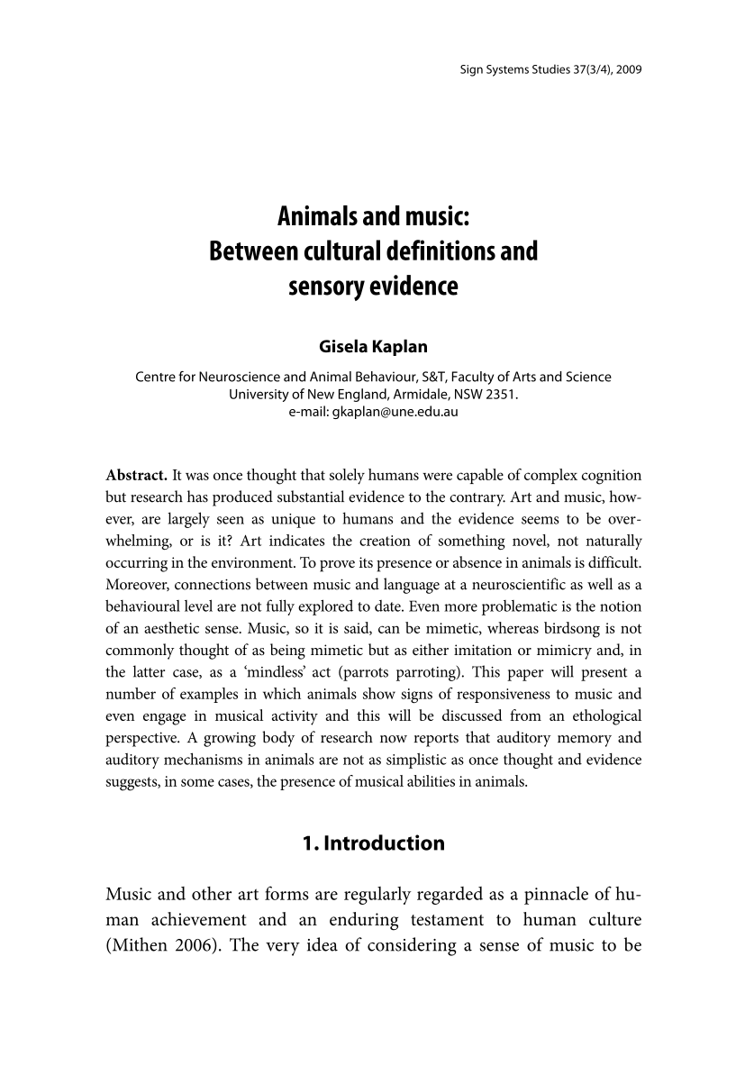 Animals and music: Between cultural definitions and sensory evidence