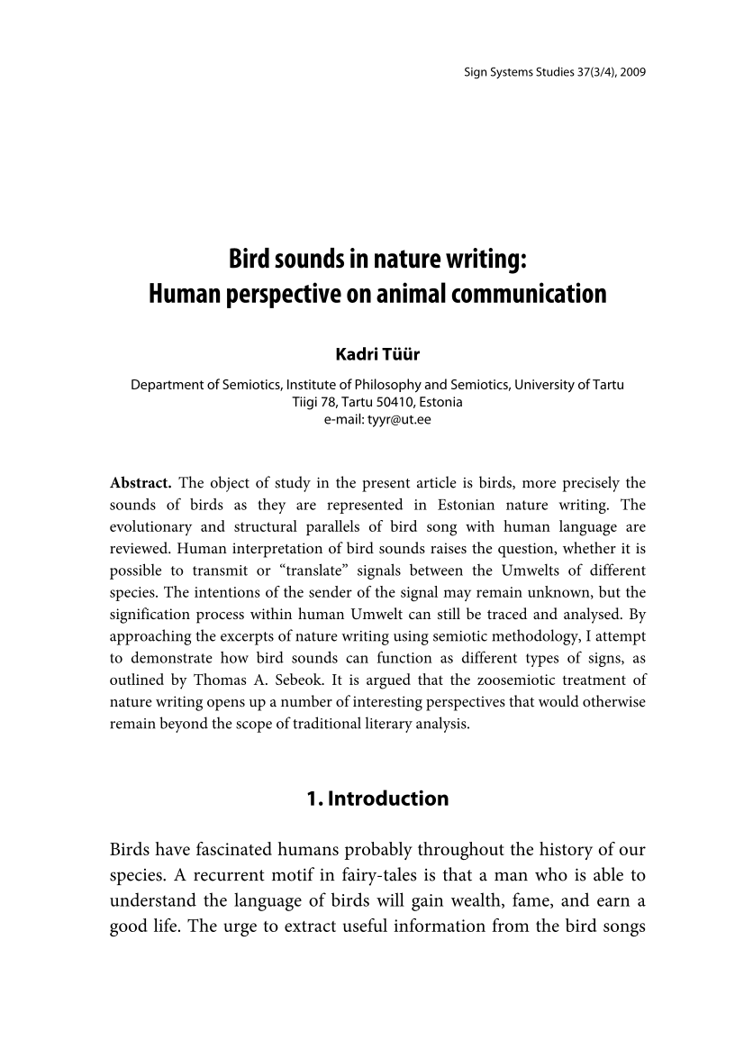 Bird sounds in nature writing: Human perspective on animal
