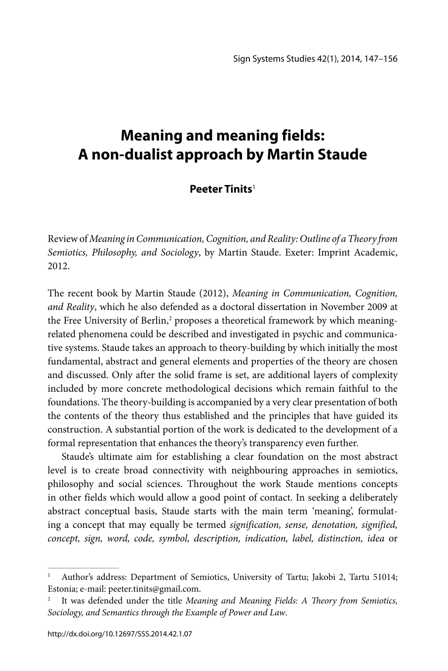 Meaning and meaning fields: A non-dualist approach by Martin