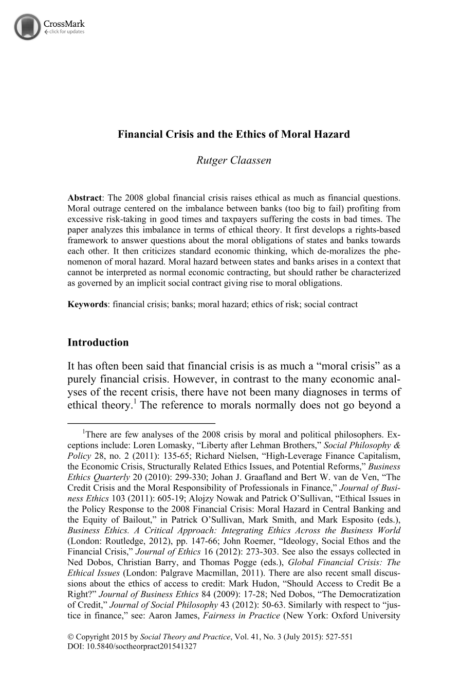 financial crisis and the ethics of moral hazard rutger claassen document is being loaded