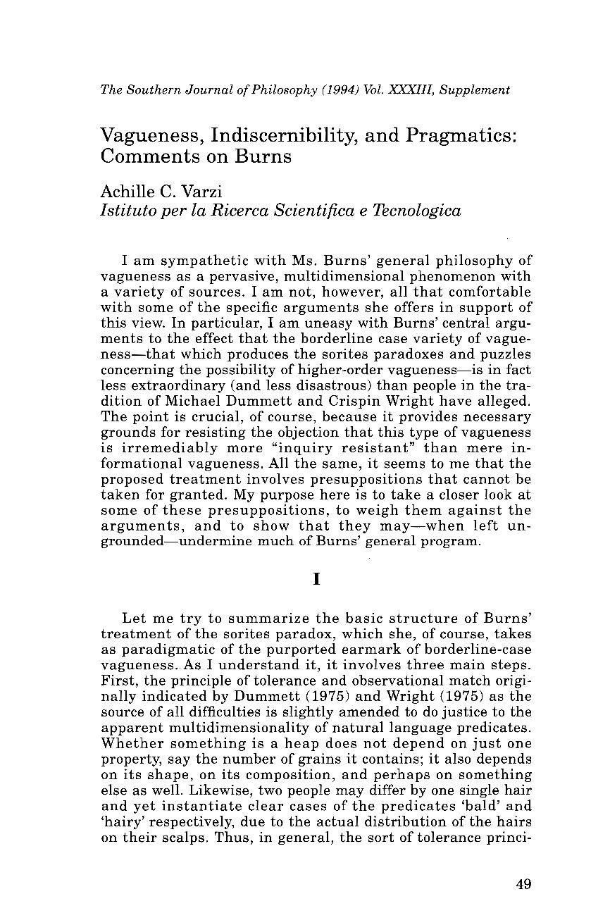 Commentary  Vagueness, Indiscernibility, and Pragmatics - Achille ... dda921940fa