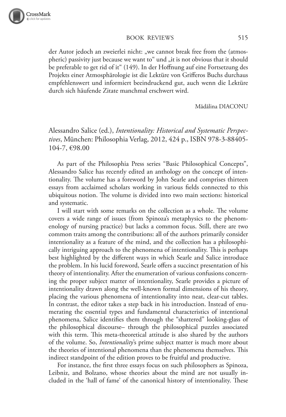 Alessandro Salice (ed.), Intentionality: Historical and Systematic ...