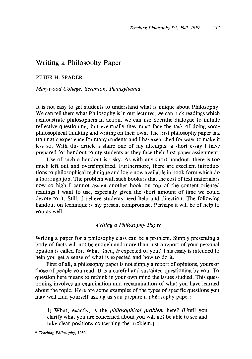 Philosophy Paper Term Paper?