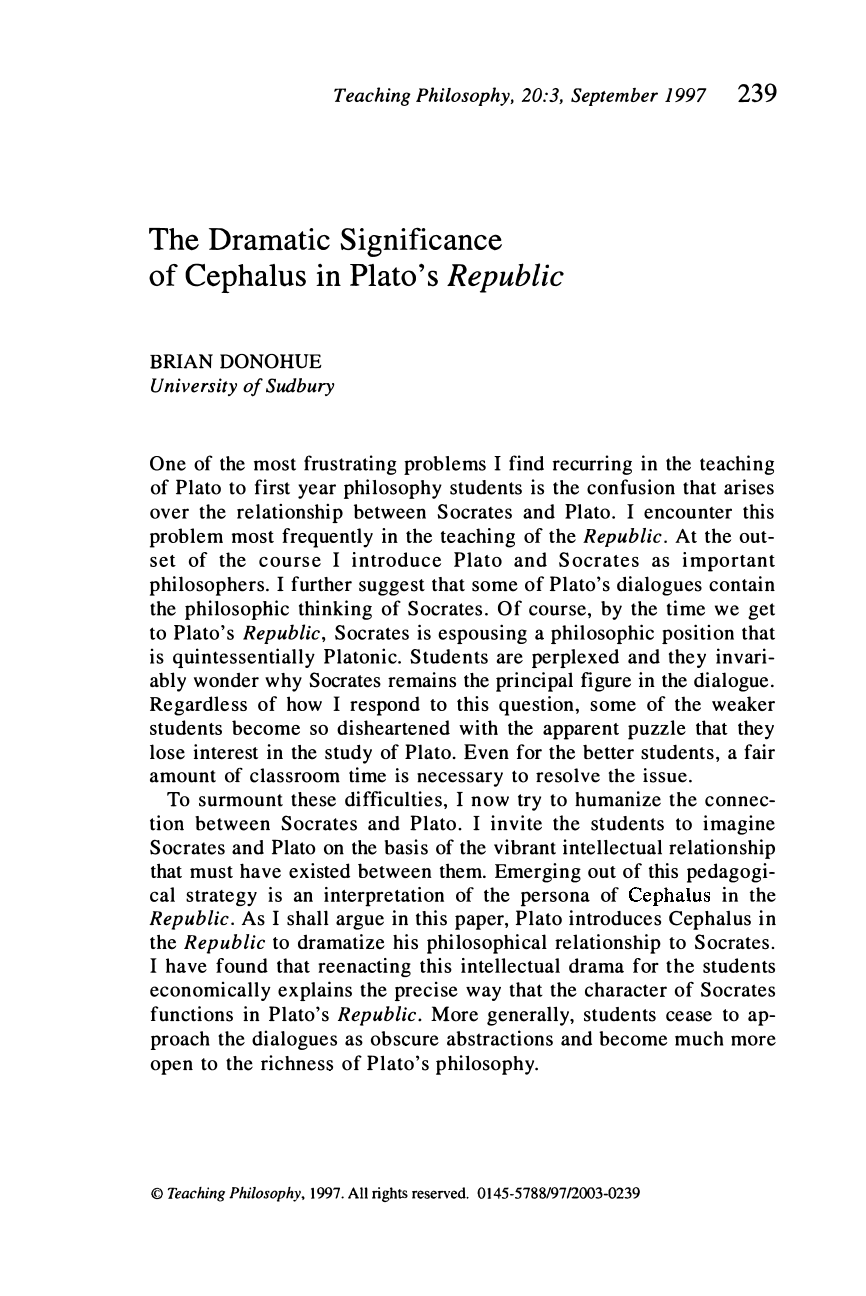 The Dramatic Significance of Cephalus in Plato's Republic ...