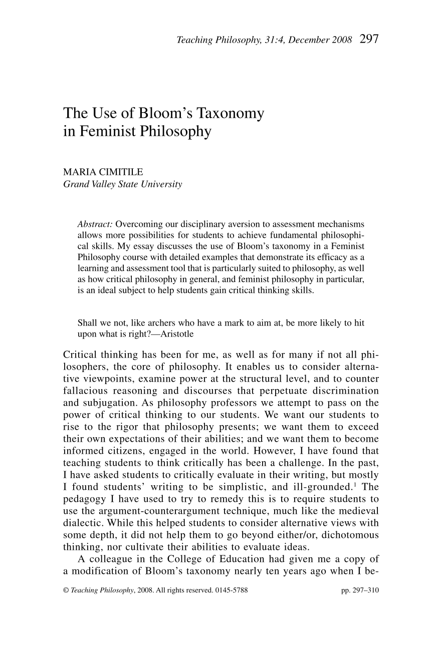 feminist philosophy essay This essay provides an analysis of the terms by which the question of extending civil marriage to same-sex topics in feminist philosophy in philosophy of.