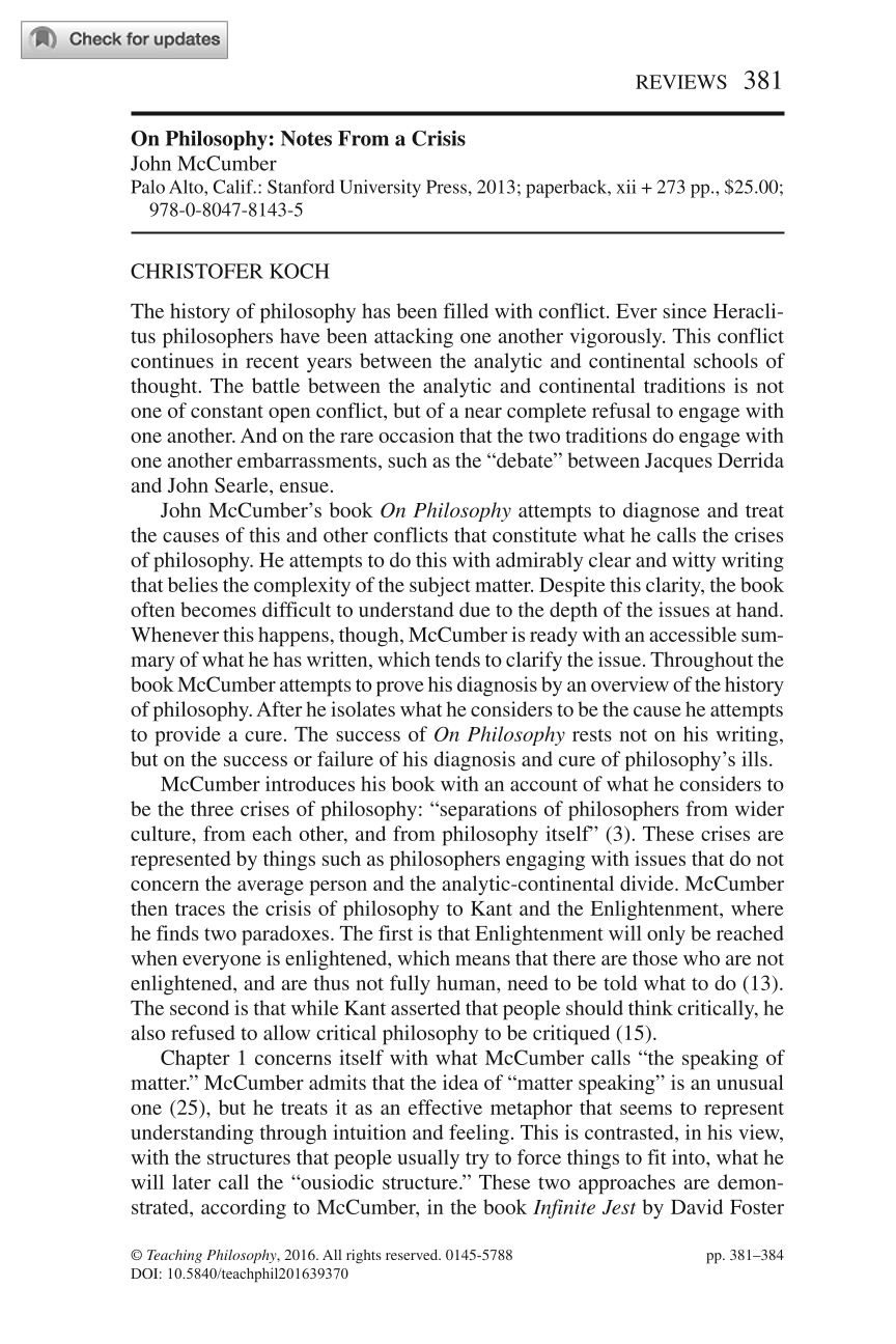 On Philosophy: Notes From a Crisis, by John McCumber - Christofer