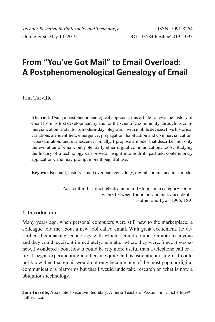 "From ""You've Got Mail"" to Email Overload: A Postphenomenological"