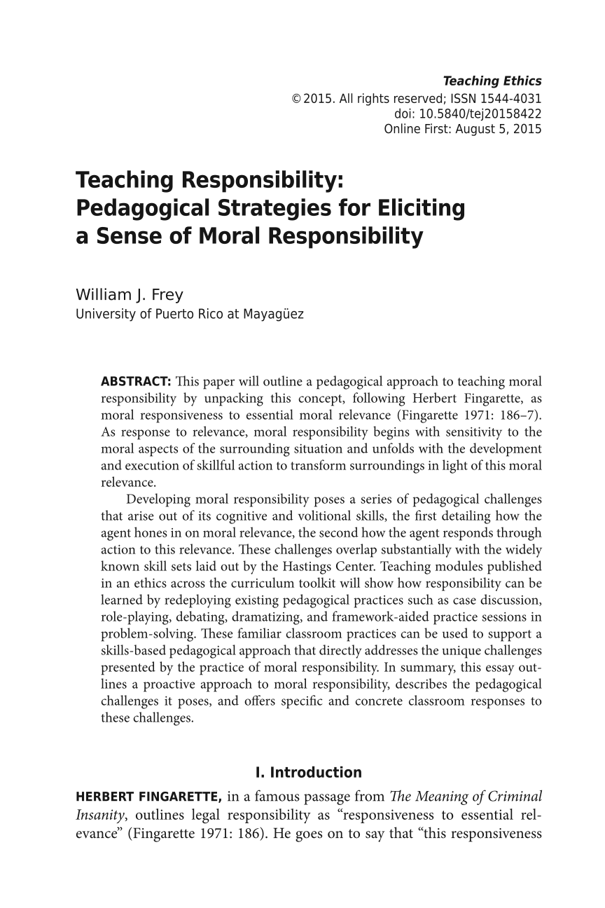 Teaching Responsibility: Pedagogical Strategies for Eliciting a