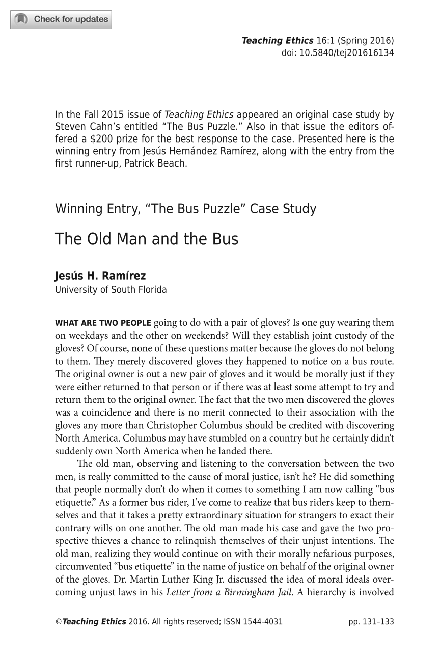 "Winning Entry, ""The Bus Puzzle"" Case Study: The Old Man and the Bus"