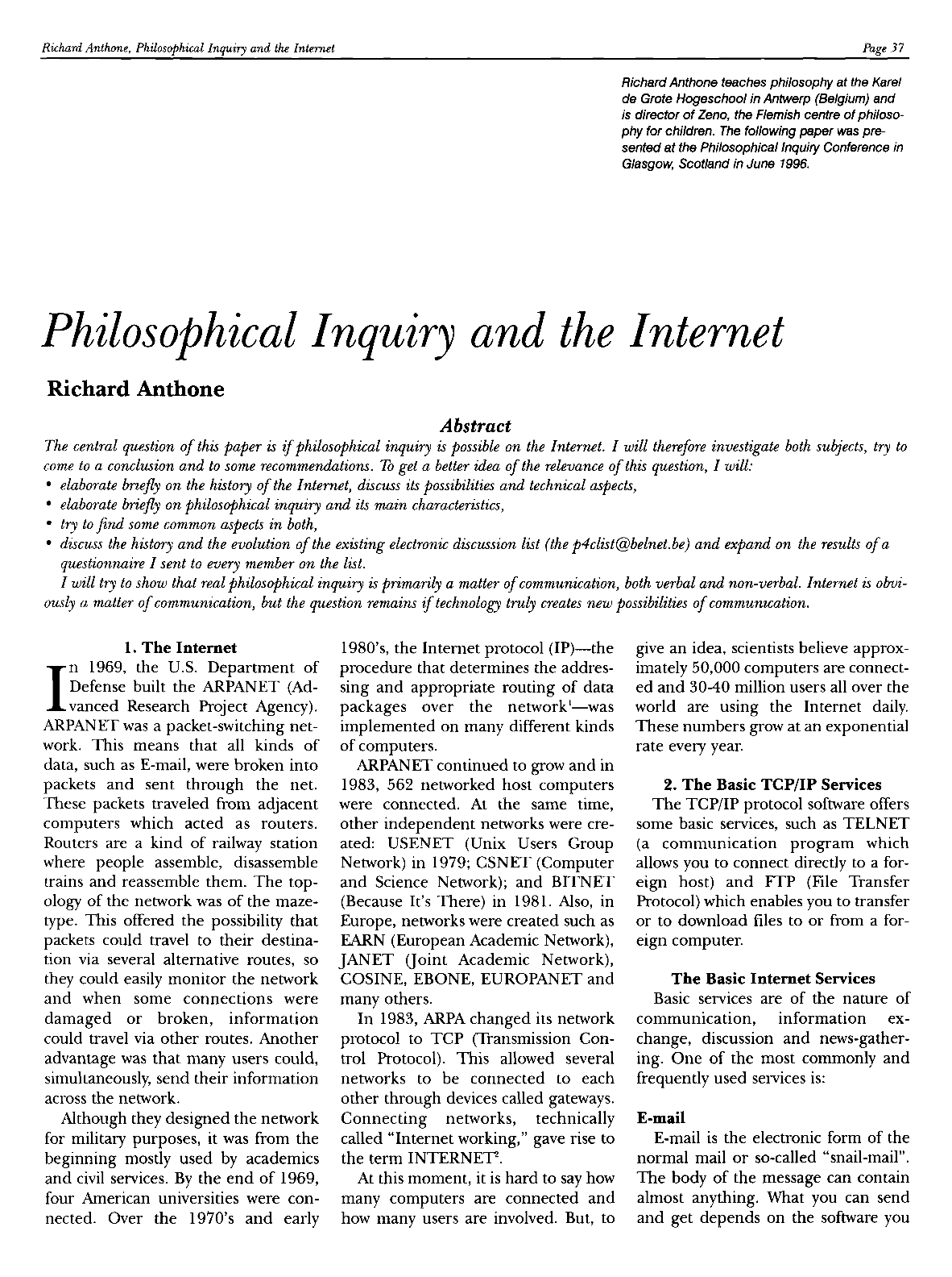 Philosophical Inquiry and the Internet - Richard Anthone