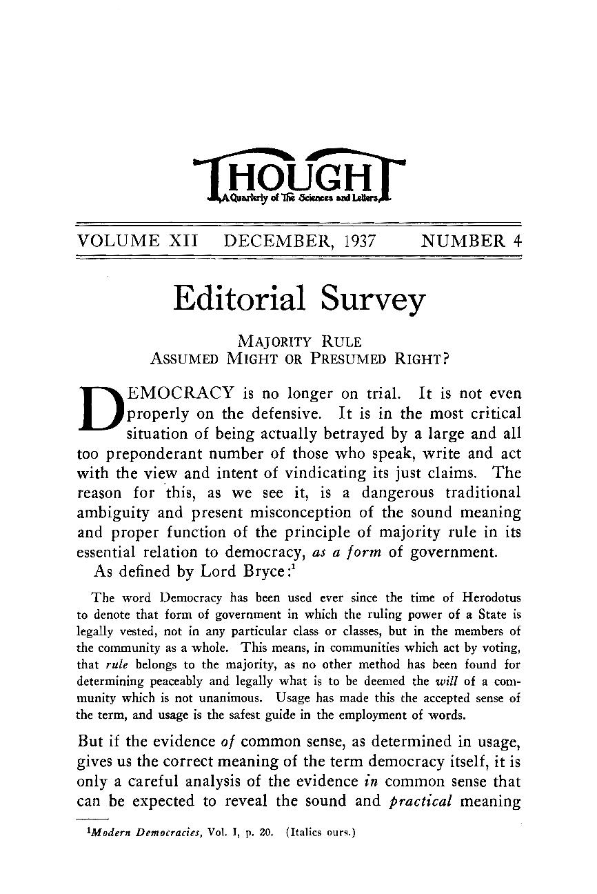 Editorial Survey - - Thought: Fordham University Quarterly