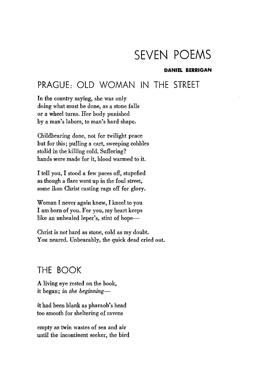 Seven Poems - Daniel Berrigan - Thought: Fordham University