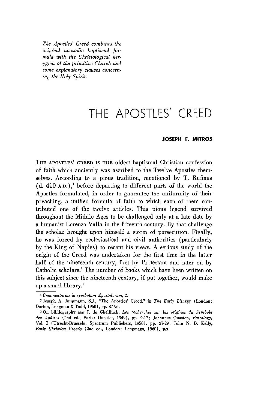 The Apostles' Creed - Joseph F  Mitros - Thought: Fordham