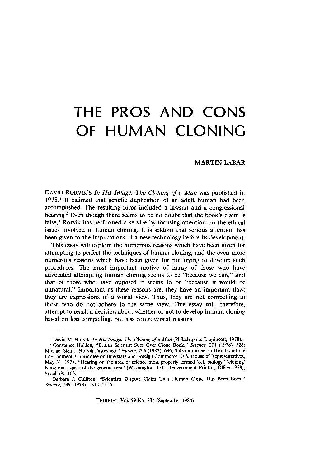 human cloning and congress essay