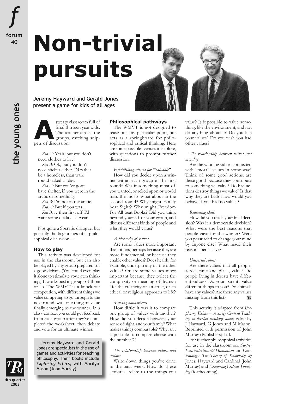 Non-trivial pursuits - Jeremy Hayward, Gerald Jones - The
