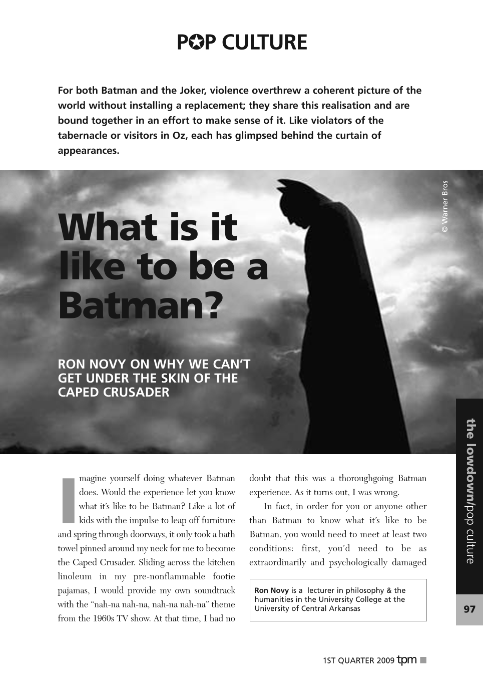 What is it like to be a Batman? - Ron Novy - The Philosophers
