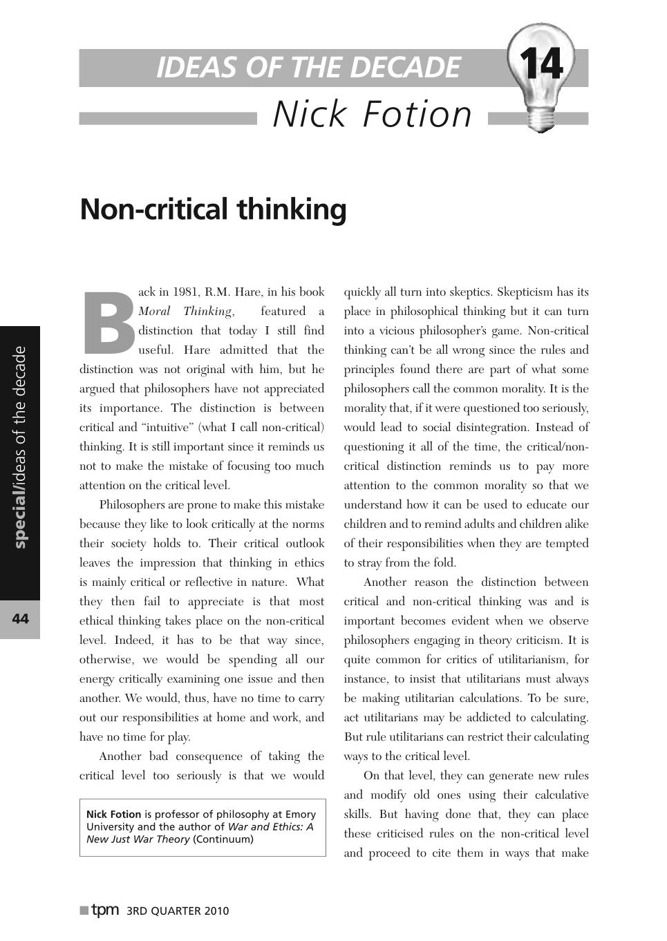 Non critical thinking