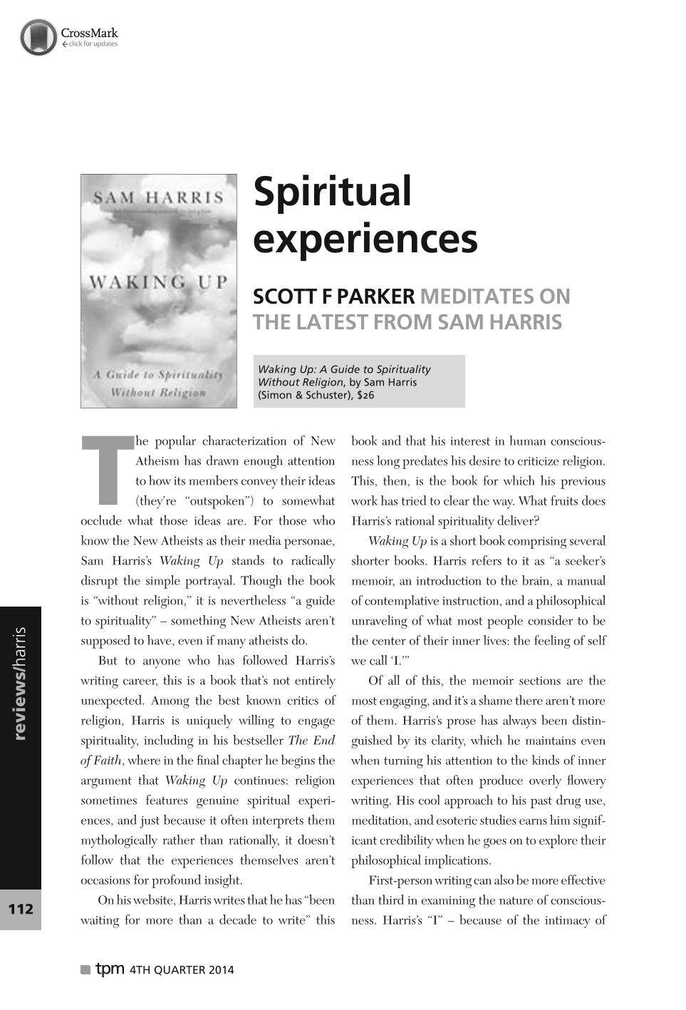 Spiritual experiences - Scott F Parker - The Philosophers